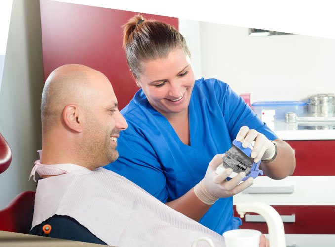 doctor giving treatment to patient of snoring